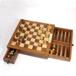 Personalised Backgammon/Chess Set, 10 inch Square Wooden ref BCSS2